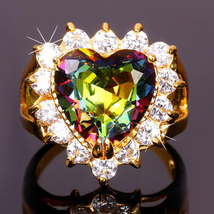 Chic Colored Rhinestone Heart Shape Ring For Women