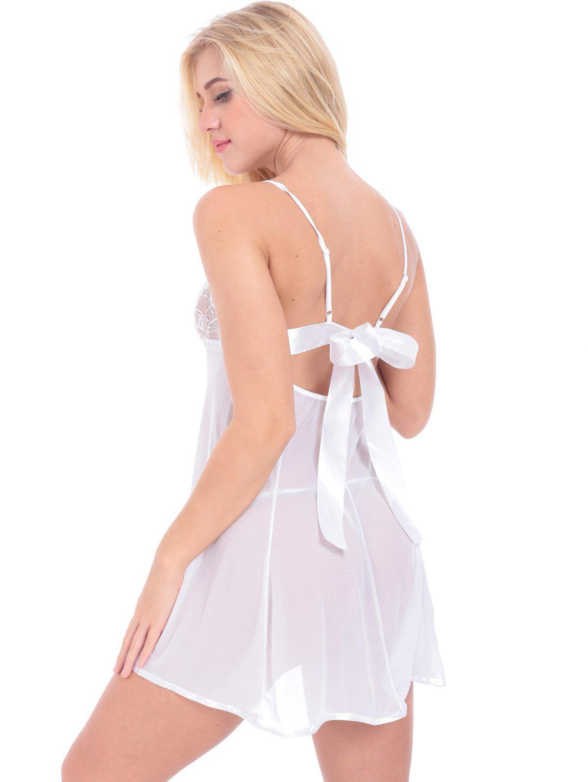 Lace Inset See Through Babydoll With G-String - WHITE 2XL