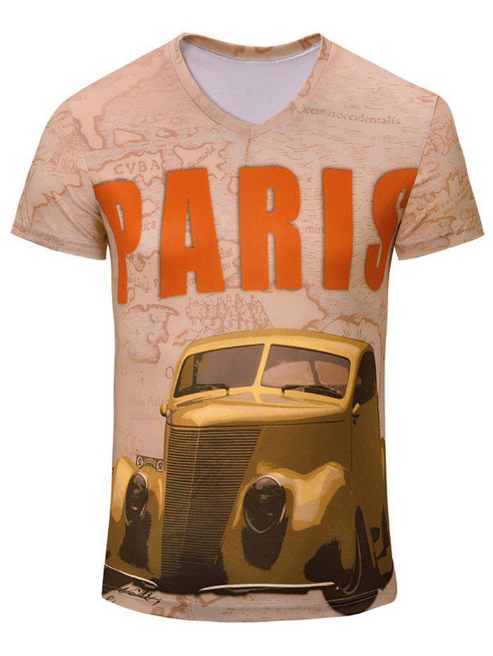 Casual Car Printed Men's Short Sleeves T-Shirt - COMPLEXION S