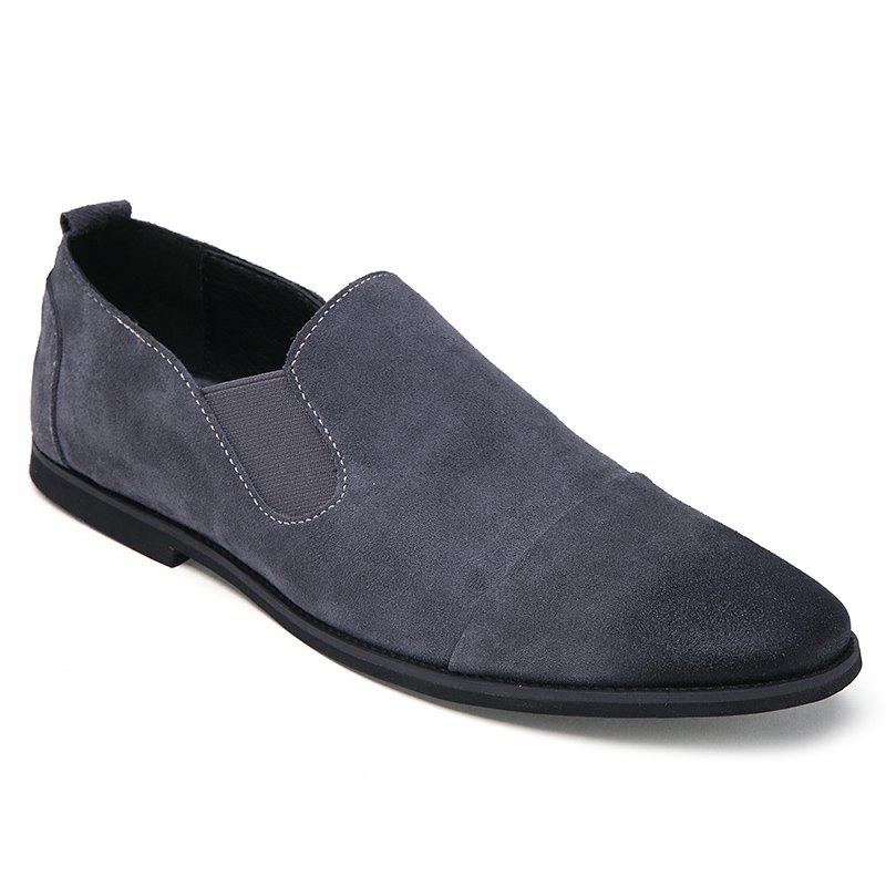 Simple Elastic and Suede Design Men's Casual Shoes - GRAY 42