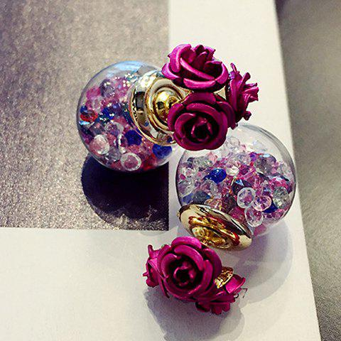 Faux Crystal Double End Flower Ball Stud Earrings - ROSE