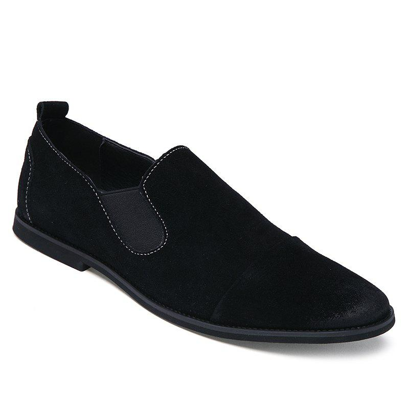 Simple Elastic and Suede Design Men's Casual Shoes - BLACK 42
