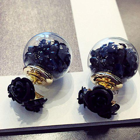 Faux Crystal Double End Flower Ball Stud Earrings - BLACK