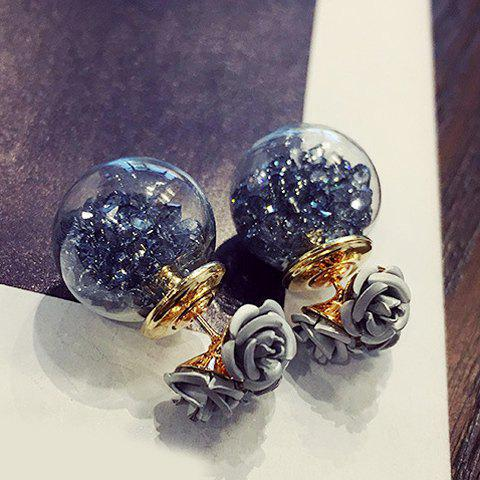Pair of Elegant Double-End Faux Crystal Flower Ball Stud Earrings For Women