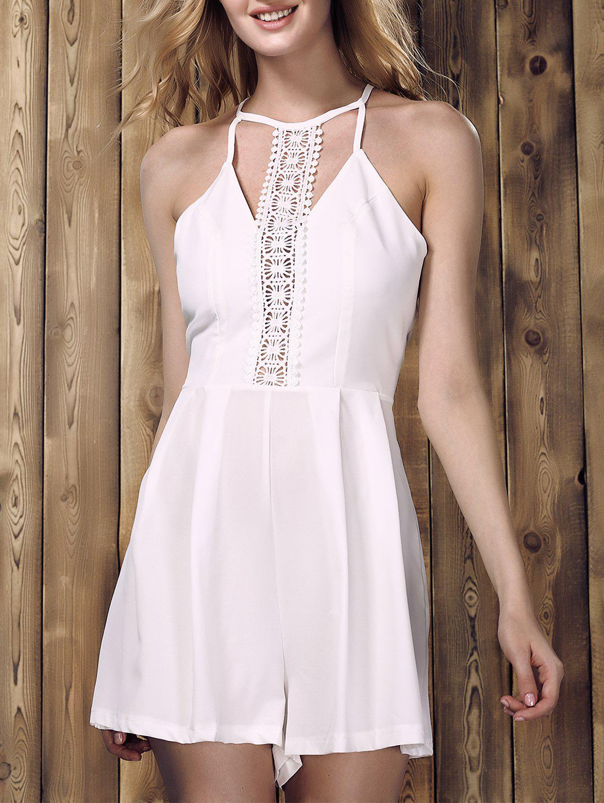 Chic Sleeveless Hollow Out Solid Color Lace Spliced Women's Romper - WHITE S
