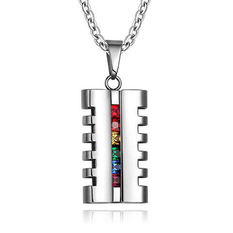 Delicate Coloured Faux Crystal Geometric Alloy Pendant Necklace For Men - SILVER