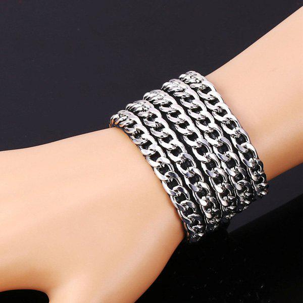 Five Link Chains Embellished Bracelet - SILVER
