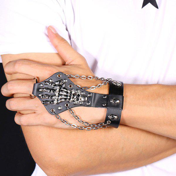 Skull Skeleton Rivet Faux Leather Bracelet with Ring - BLACK