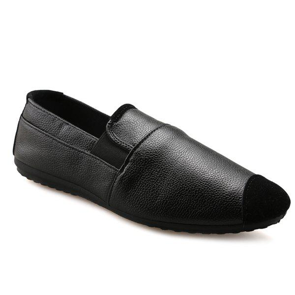 Casual Black and Elastic Design Men's Loafers