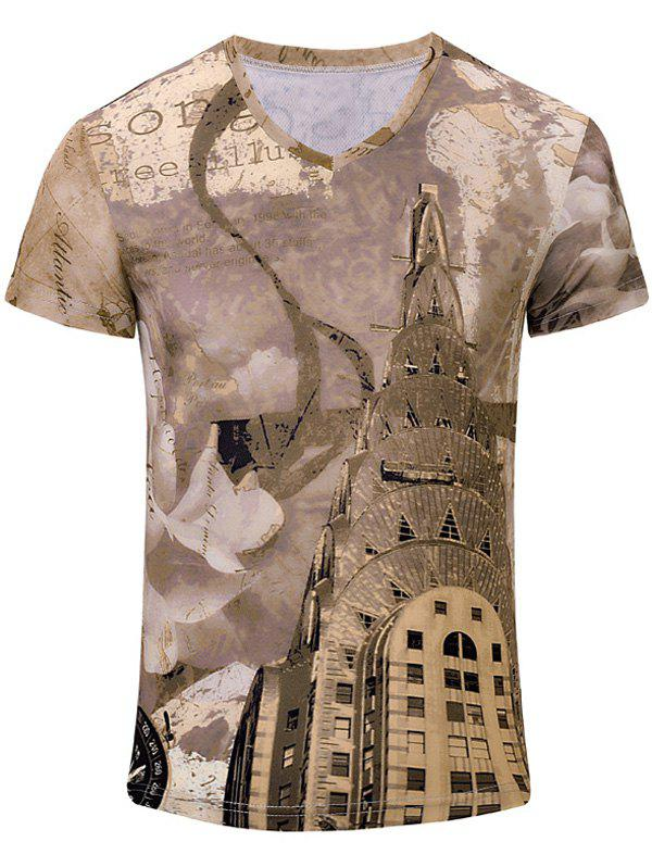 Casual Building Printed Men's Short Sleeves T-Shirt - BROWN S
