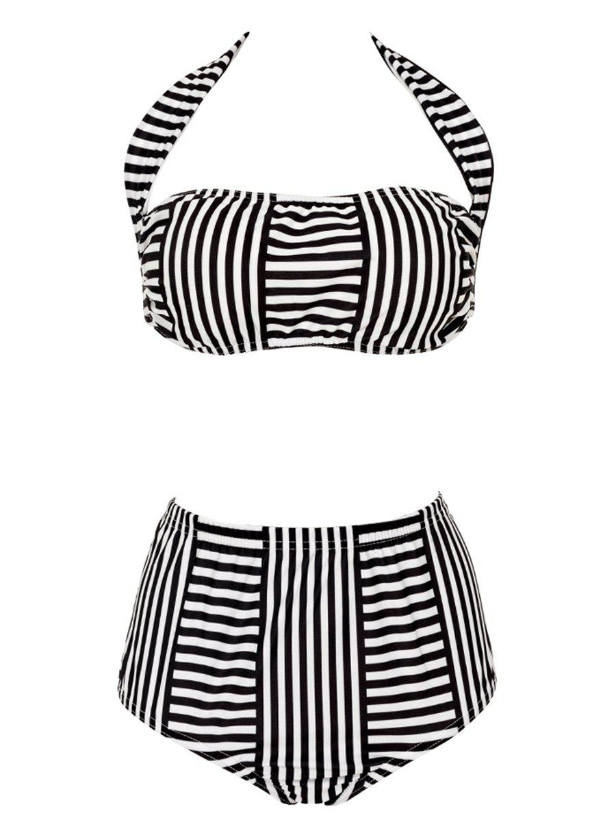 Plus Size Striped Halter Neck Women's Bikini Set - STRIPE L