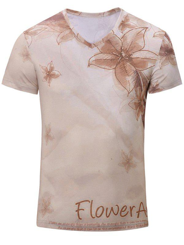 Casual Flower Printed Men's Short Sleeves T-Shirt