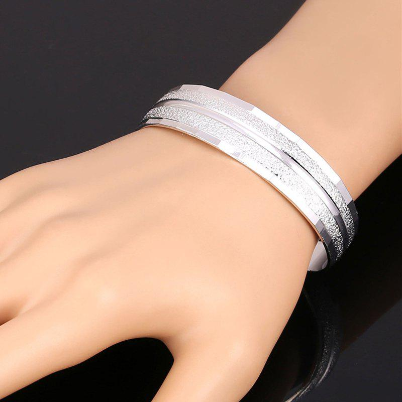 Single Stripy Gold Plated Cuff Bracelet - SILVER