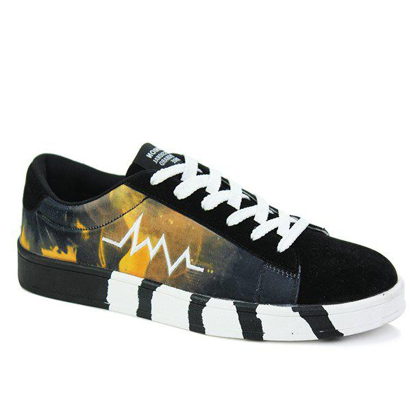 Sports Style Print and Splicing Design Men's Casual Shoes - YELLOW/BLACK 39