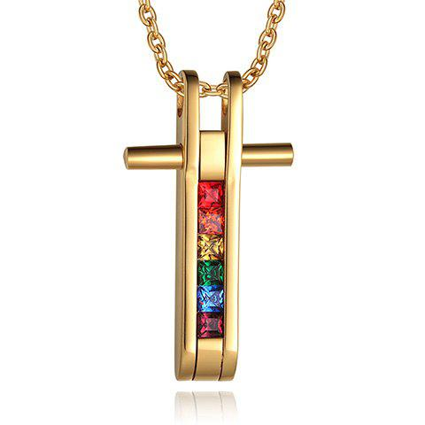 Faux Crystal Alloy Cross Pendant Necklace - GOLDEN