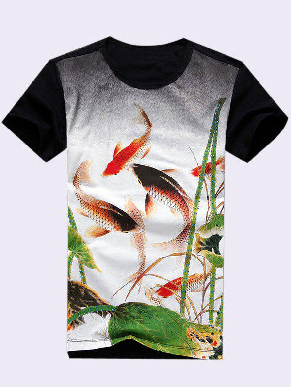 Plus Size Mens Round Neck Fishes Playing Lotuses Print Short Sleeve T-ShirtMen<br><br><br>Size: 2XL<br>Color: BLACK