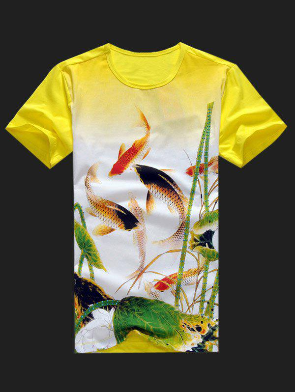 Plus Size Men's Round Neck Fishes Playing Lotuses Print Short Sleeve T-Shirt - YELLOW XL