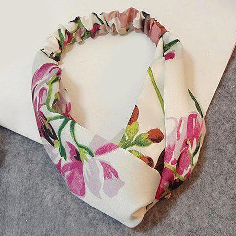 Elegant Floral Printed Crossed Elastic Headband For Women - OFF WHITE