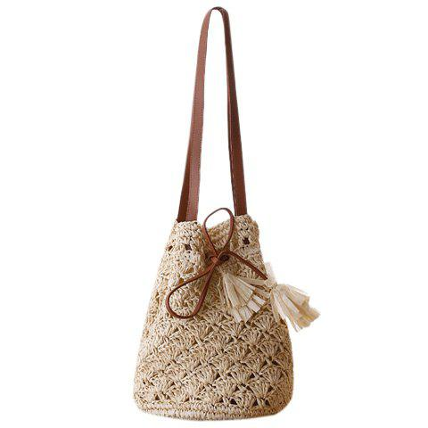 Casual Tassels and Hollow Out Design Women's Shoulder Bag - BEIGE