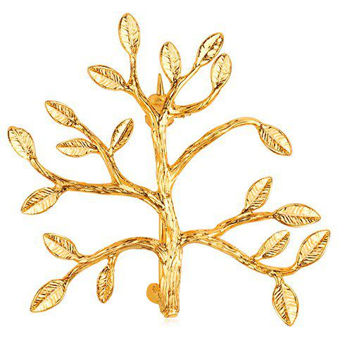 Broche Alliage Feuille Arbre - Or