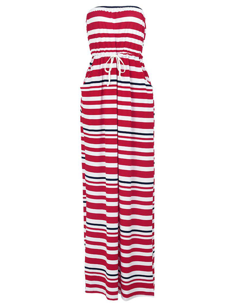 Stylish Drawstring Waist Strapless Striped Women's Maxi Dress - RED S