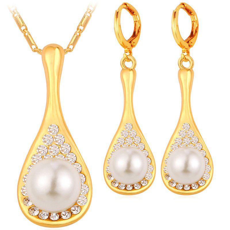 A Suit of Water Drop Faux Pearl Necklace and Earrings - GOLDEN
