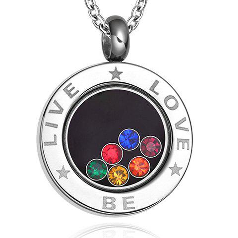 LIVE BE LOVE Rhinestone Pendant Necklace - SILVER