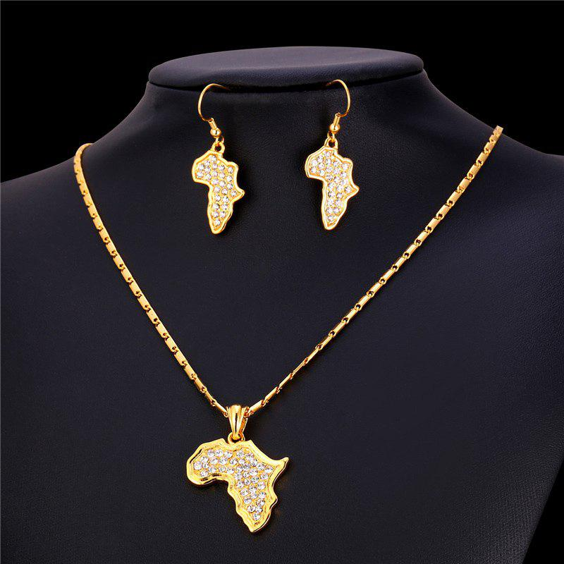 Rhinestone African Plate Shape Pendant Necklace and Earrings - GOLDEN