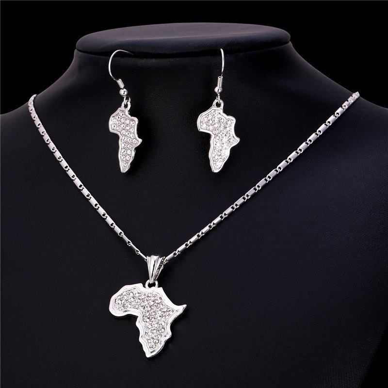 Rhinestone African Plate Shape Pendant Necklace and Earrings - SILVER
