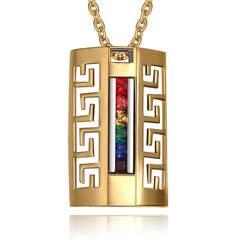 Trendy Geometric Coloured Faux Crystal Cut Out Pendant Necklace For Men
