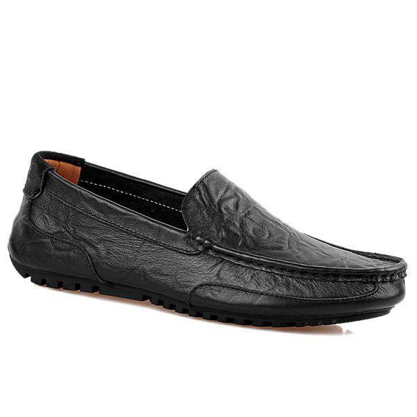 Simple Round Toe and Stitching Design Men's Loafers - BLACK 41