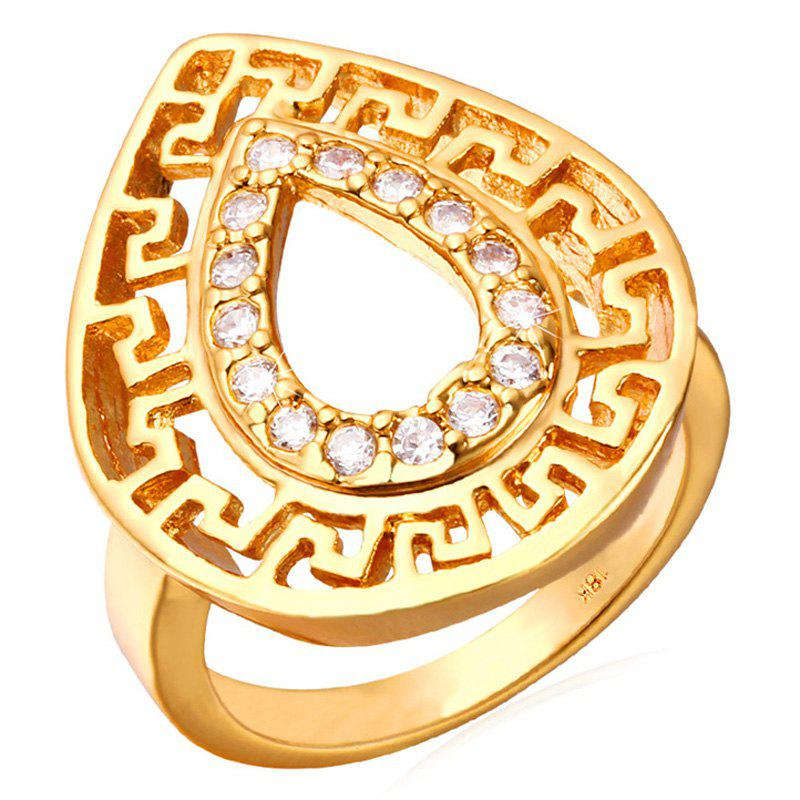 Chic Rhinestoned Water Drop Ring For Women - GOLDEN ONE-SIZE