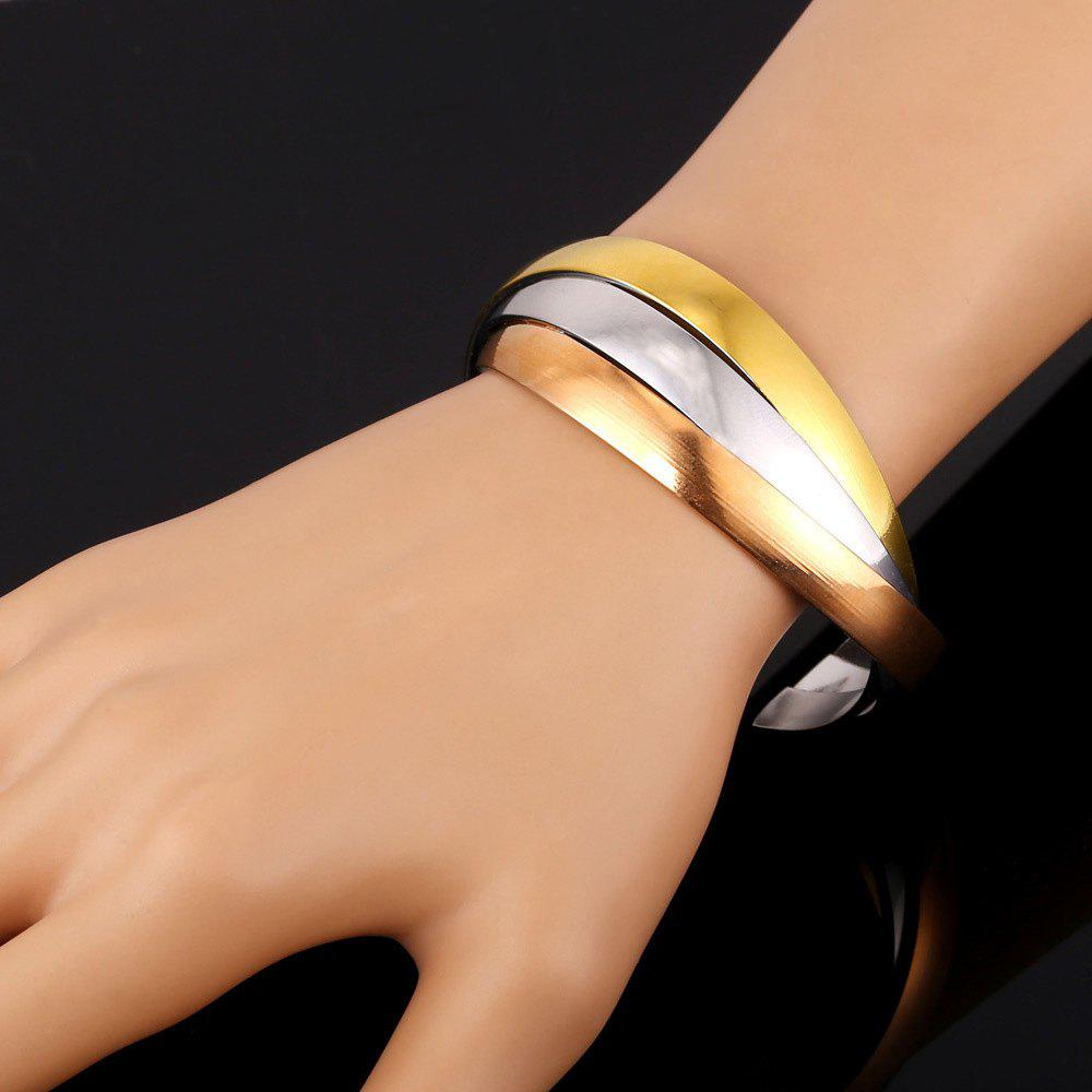 Three Tone Color Stripy Junction Cuff Bracelet - GOLDEN