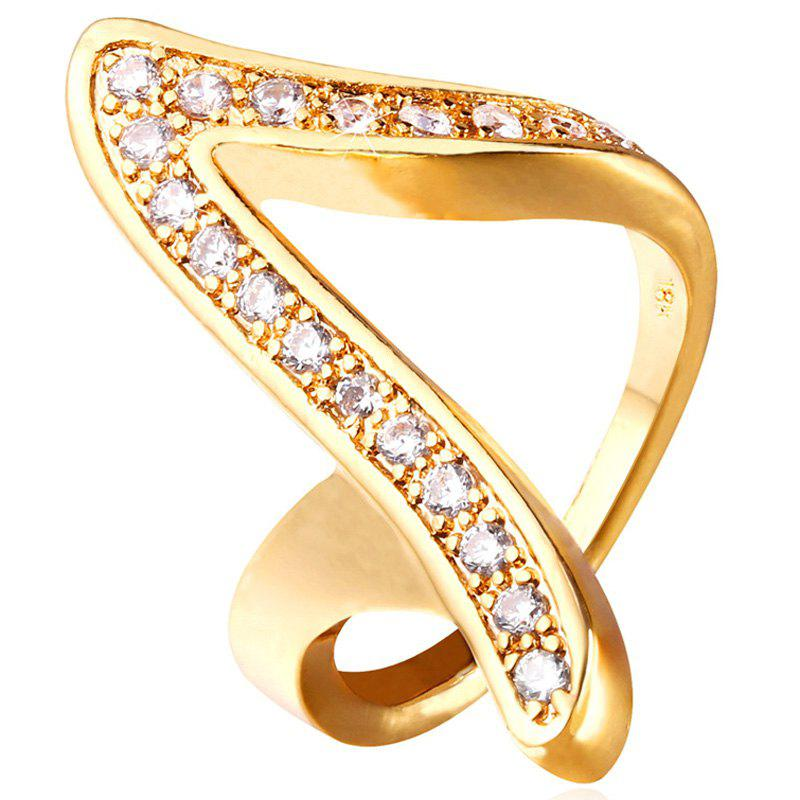 Rhinestoned V Shape Ring - GOLDEN ONE-SIZE