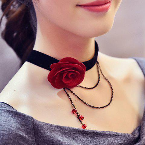 Layered Chain Tassel Choker Rose Necklace - RED
