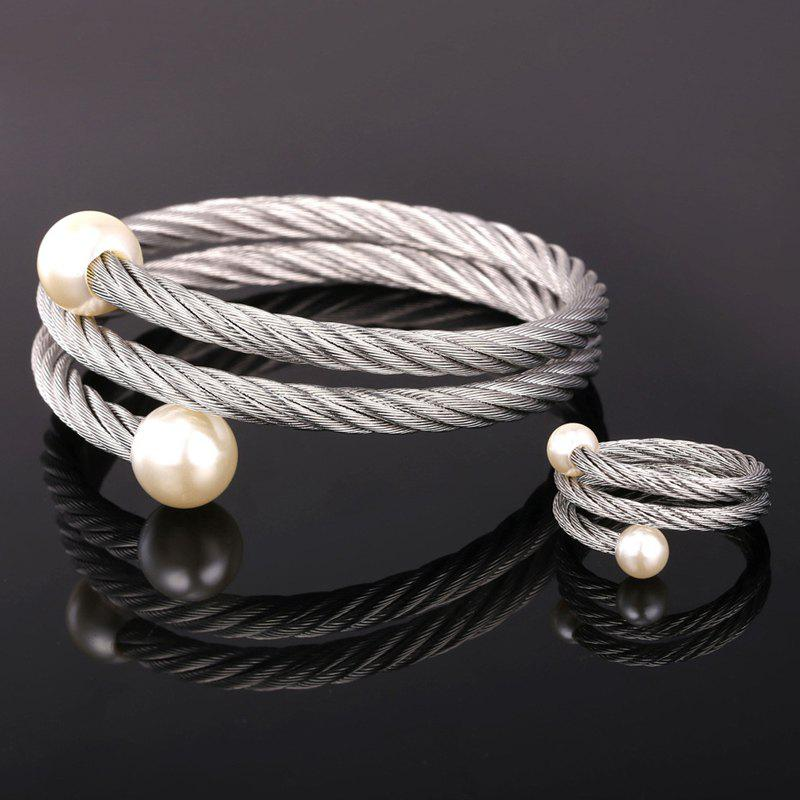 Chic Faux Pearl Embellished Women's Silver Bracelet and Ring