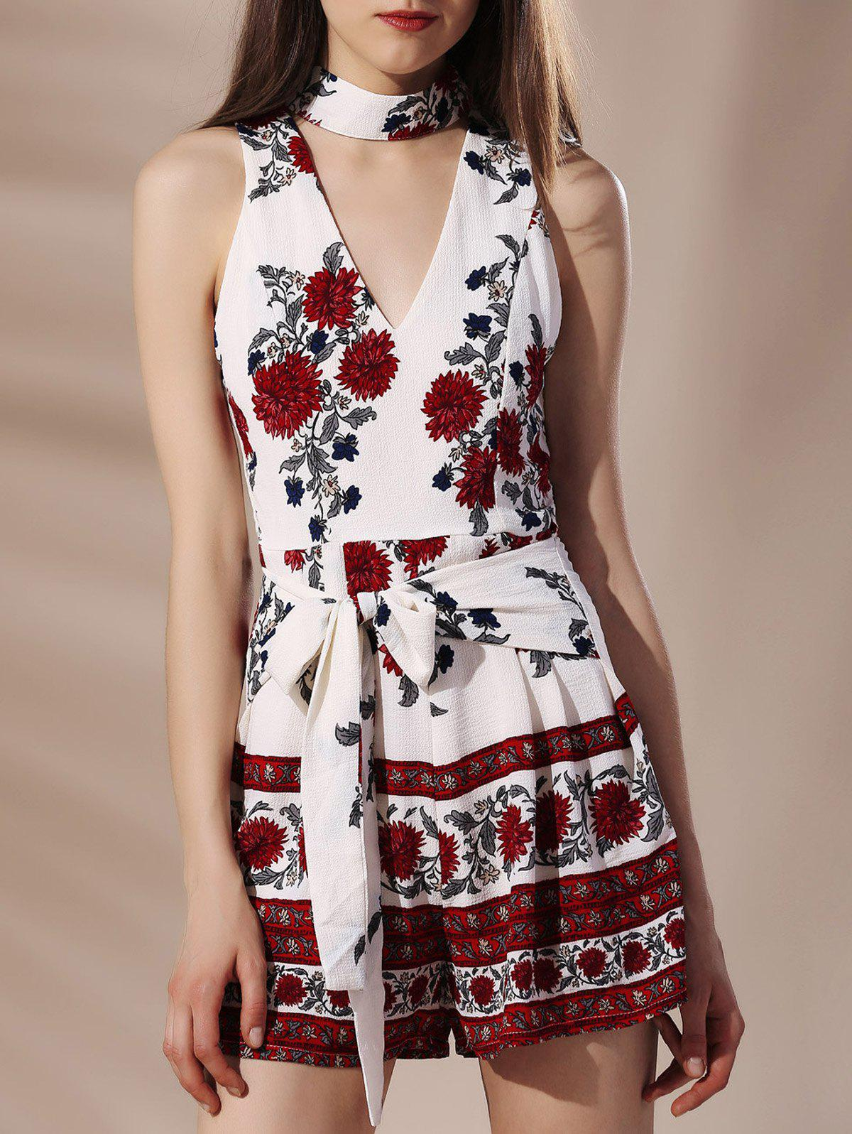 Stylish Flower Print Stand Collar Self Tie Cut Out Sleeveless Women's Romper - RED/WHITE S