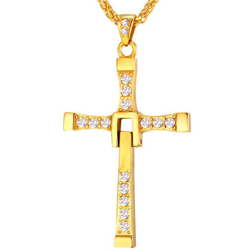 Charming Stainless Steel Rhinestone Cross Necklace For MenJewelry<br><br><br>Color: GOLDEN