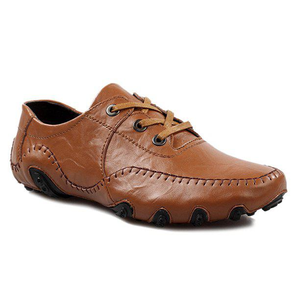 Fashionable Stitching and Lace-Up Design Men's Casual Shoes - BROWN 43