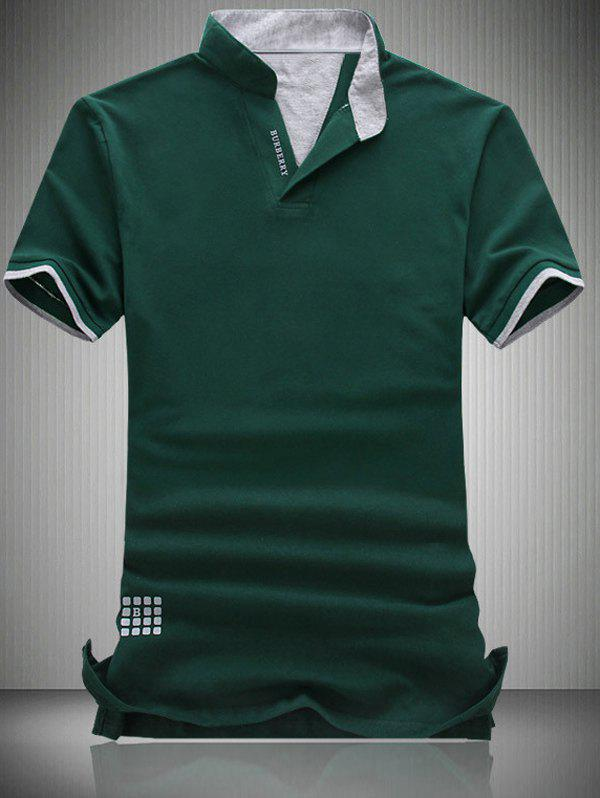 Plus Size Turn-Down Collar Letter Pattern Short Sleeve Polo T-Shirt For MenMen<br><br><br>Size: L<br>Color: GREEN