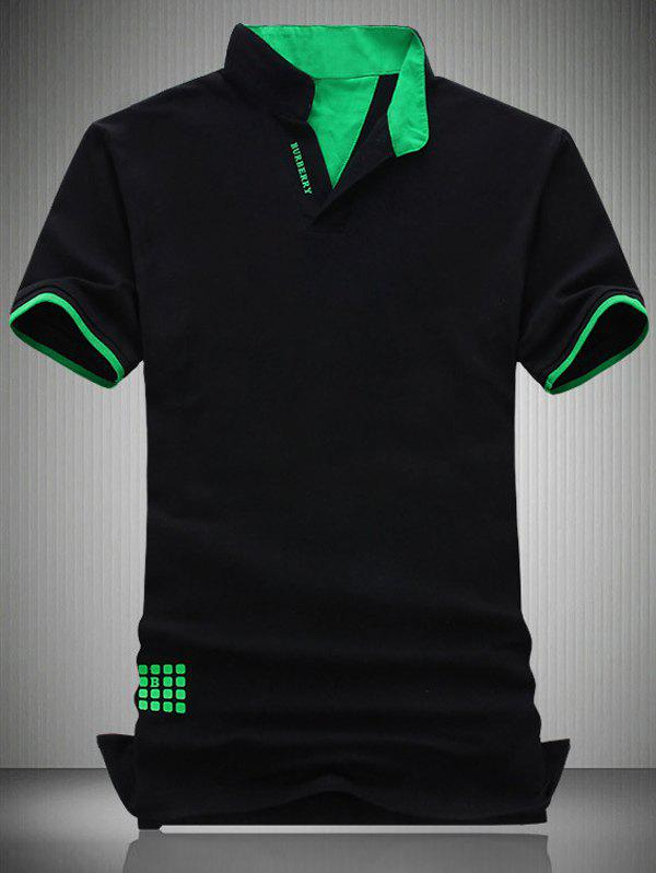 Plus Size Turn-Down Collar Letter Pattern Short Sleeve Polo T-Shirt For Men - BLACK 6XL