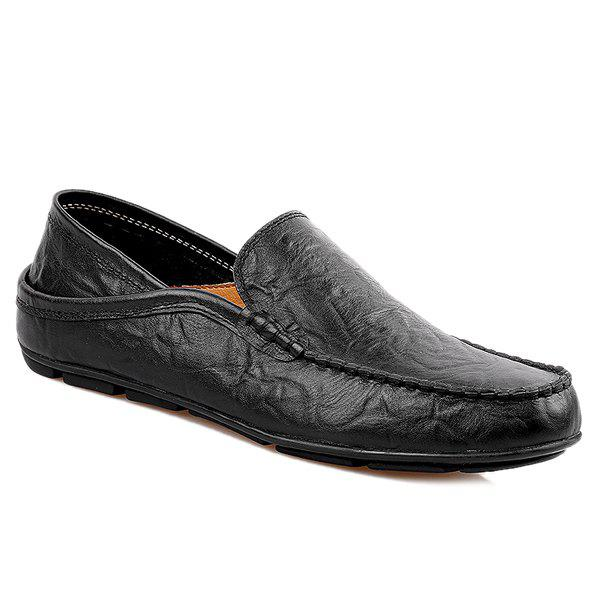 Casual Stitching and Round Toe Design Men's Loafers - BLACK 43