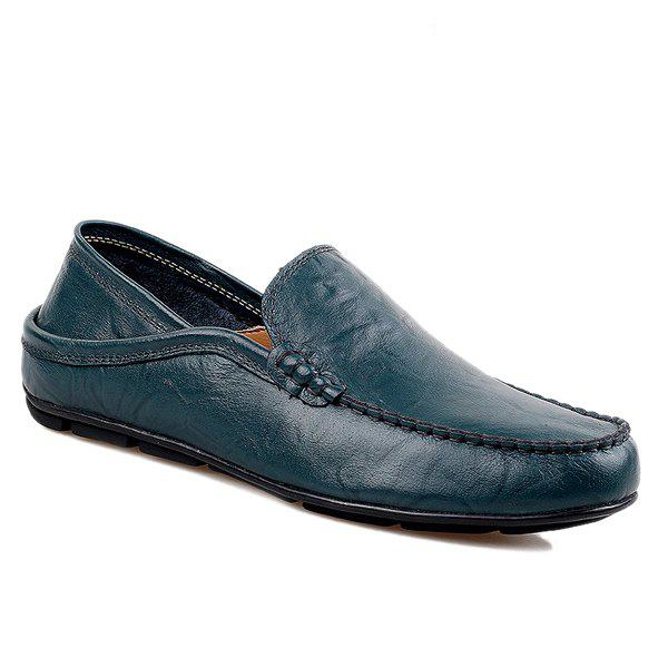 Casual Stitching and Round Toe Design Men's Loafers - BLUE 44