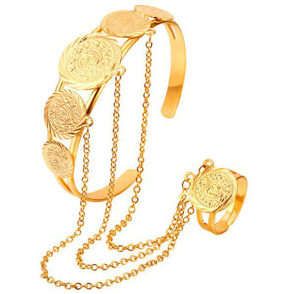 Coin Bracelet With Ring - GOLDEN