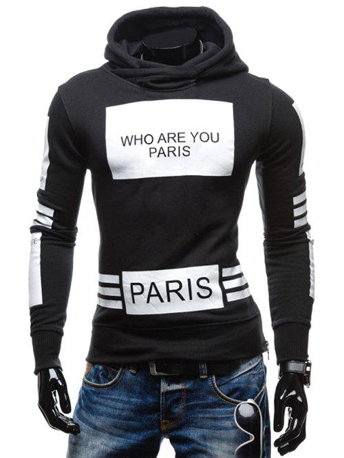 Stylish Hooded Letters Printing Striped Color Matching Long Sleeves Men's Hoodie - BLACK L