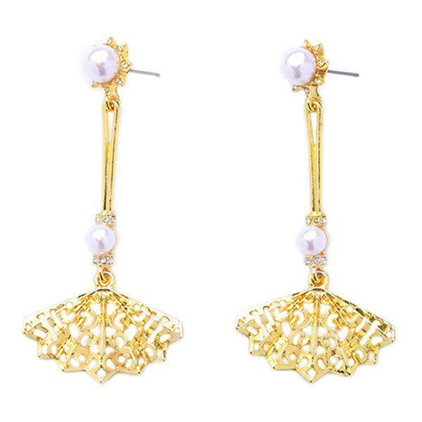 Pair of Elegant Faux Pearl Rhinestone Sector Earrings For Women