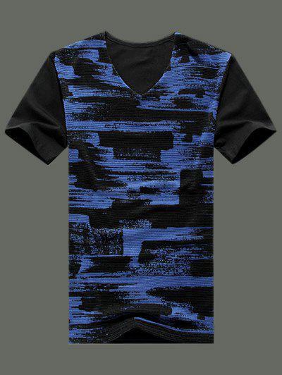 Plus Size Men's V-Neck Woven Splashed-Ink Pattern Short Sleeve T-Shirt
