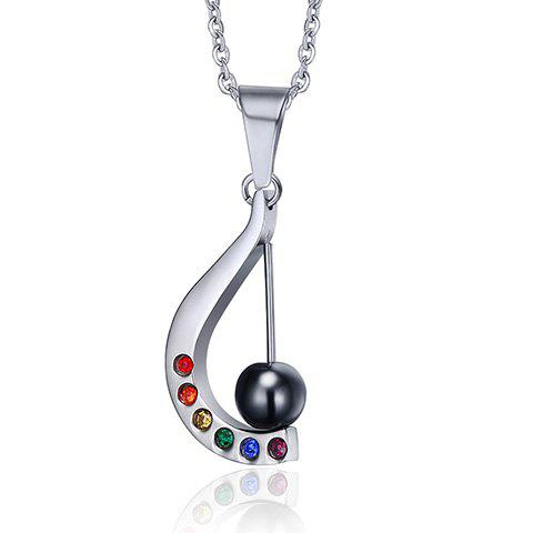 Delicate Hollow Harp Rhinestone Ball Pendant Necklace For Women