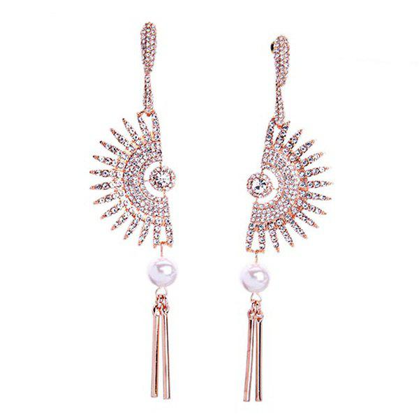 Pair of Elegant Faux Pearl Rhinestoned Sector Tassel Earrings For Women - GOLDEN