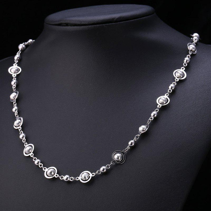 Punk Style Stainless Steel Hollow Out Beads Necklace For Men - SILVER